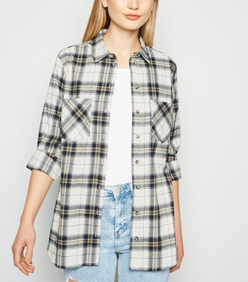 White Check Print Flannel Shirt