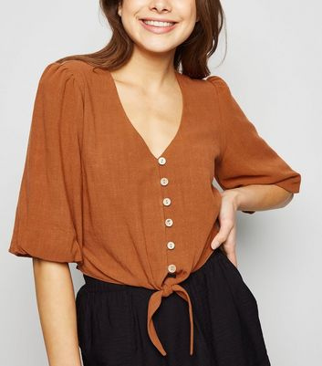 Rust Linen Look Tie Button Front Top