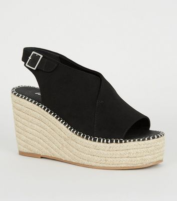 Black Suedette Espadrille Wedges