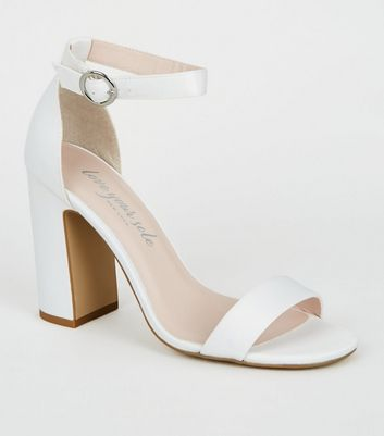 White Satin 2 Part Block Heels