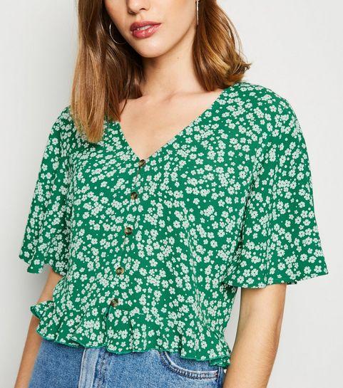 03b7376f3be ... Green Floral Button Up Frill Hem Shirt ...
