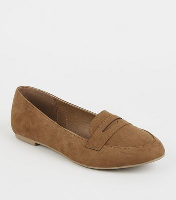 Tan Suedette Penny Loafers