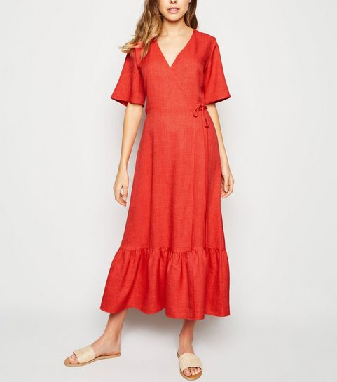 483322150dc8 ... Red Tiered Hem Wrap Midi Dress ...
