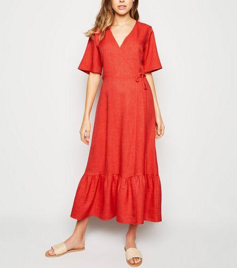 315cc72a9eba8 ... Red Tiered Hem Wrap Midi Dress ...