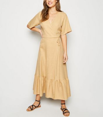 Yellow Tiered Hem Wrap Midi Dress