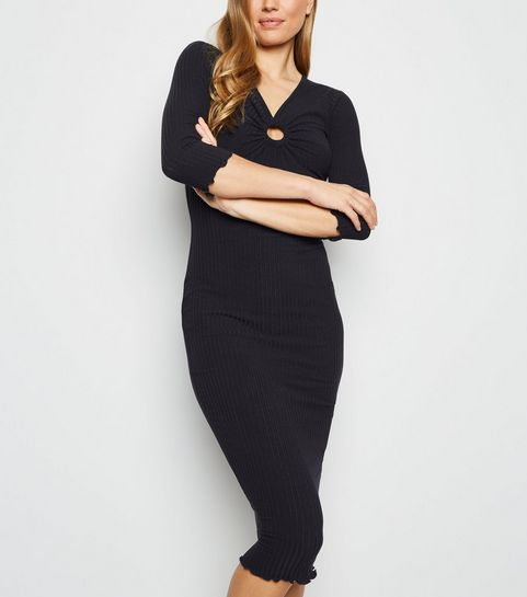 73e0ad48f625 ... Black Ring Front Ribbed Bodycon Midi Dress ...