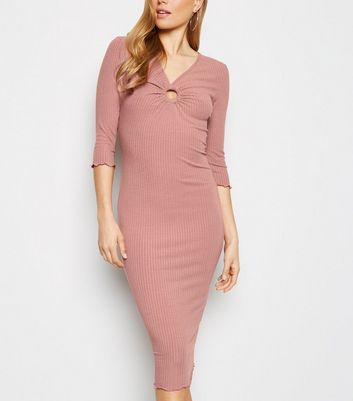 Pale Pink Ring Front Ribbed Bodycon Midi Dress