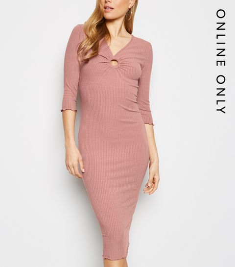 d54136398f37 ... Pale Pink Ring Front Ribbed Bodycon Midi Dress ...