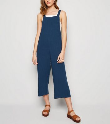 Navy Linen Look Dungaree Jumpsuit