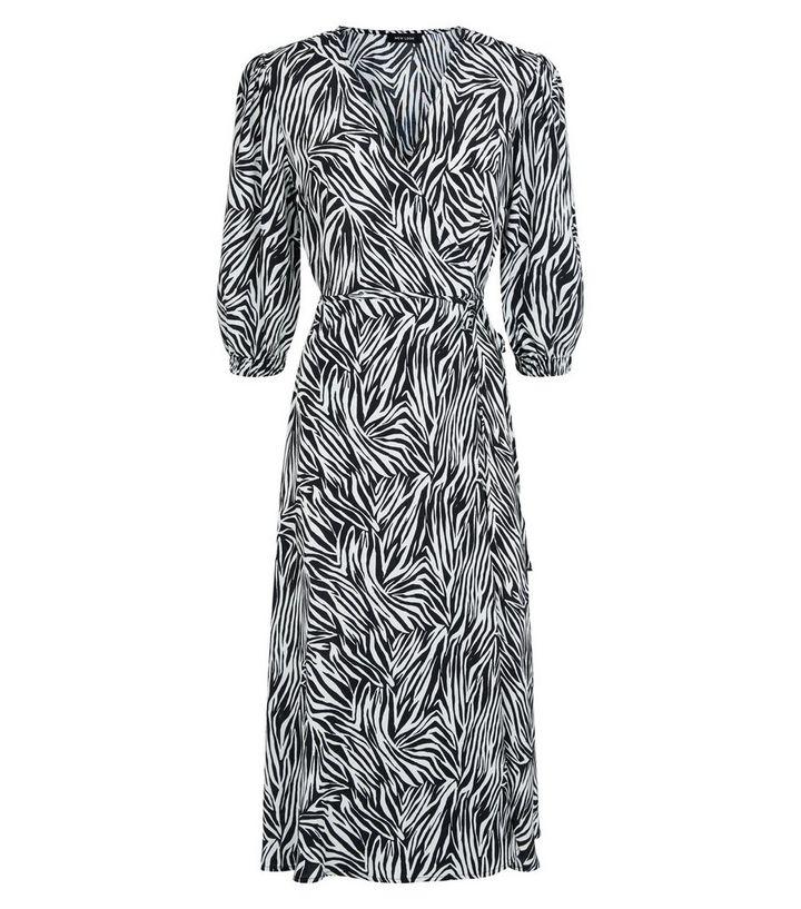 5f4a70abc0ce ... Black Zebra Print Puff Sleeve Midi Wrap Dress. ×. ×. ×. Shop the look
