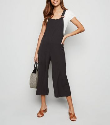 Black Buckle Herringbone Dungaree Jumpsuit