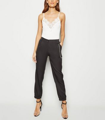 Cameo Rose Black Side Chain Trousers