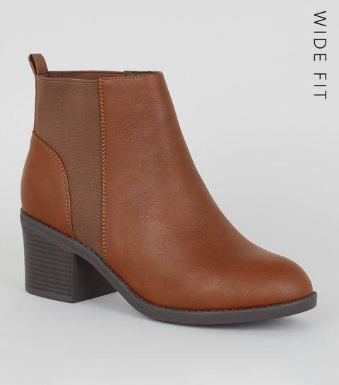 065f20e5b25 ... Wide Fit Tan Block Heel Chelsea Boots ...