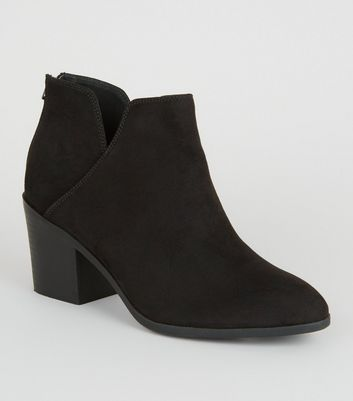 Wide Fit Black Mid Block Heel Ankle Boots
