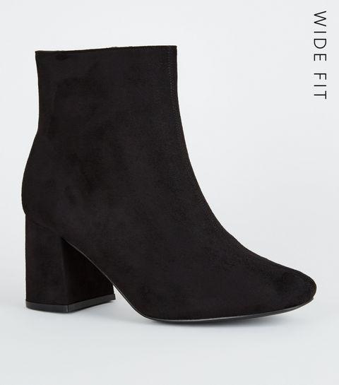 da07c64d5 ... Wide Fit Black Suedette Flared Heel Ankle Boots ...