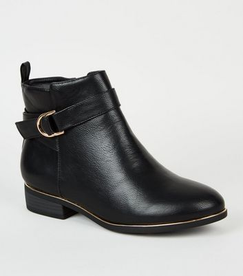 Wide Fit Black Leather-Look Ankle Boots