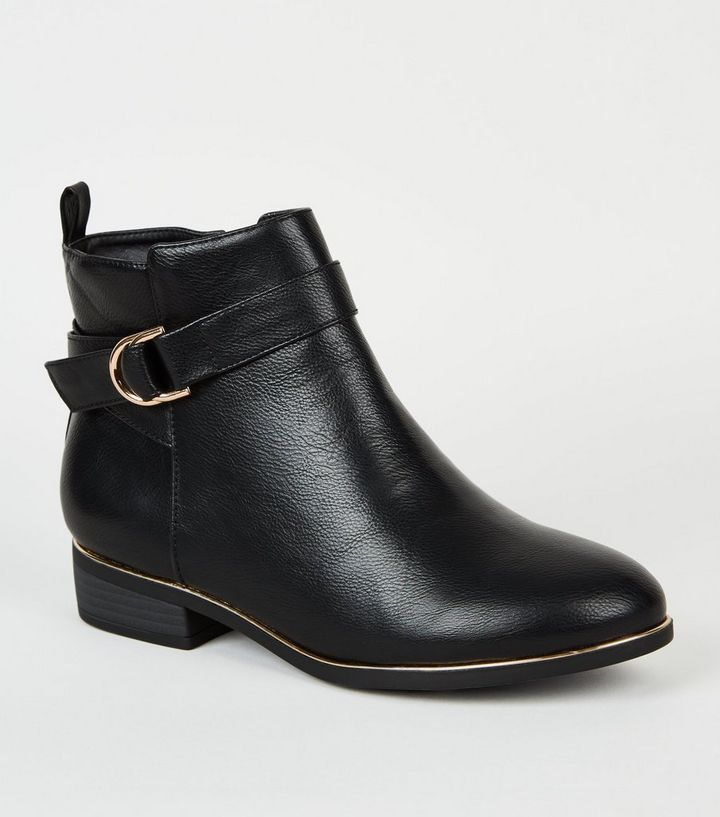 bb2320a91c5 Wide Fit Black Leather-Look Ankle Boots Add to Saved Items Remove from  Saved Items