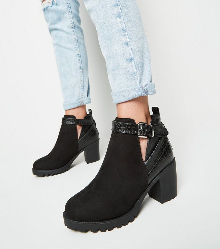 879e77c8fc6 Wide Fit Black Faux Croc Panel Ankle Boots Add to Saved Items Remove from  Saved Items