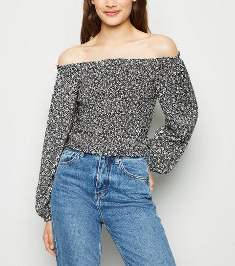 791790e37c3 ... Black Ditsy Floral Shirred Long Sleeve Bardot Top ...