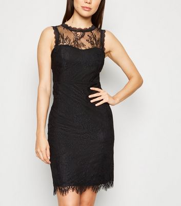 Black Lace High Neck Bodycon Dress