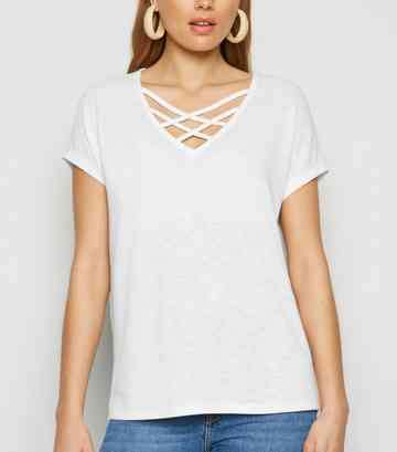 White Fine Knit Lattice Front Oversized Top