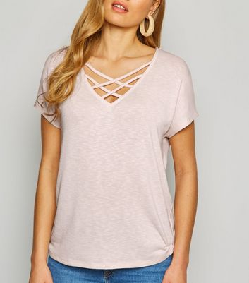 Pale Pink Fine Knit Lattice Front Oversized Top