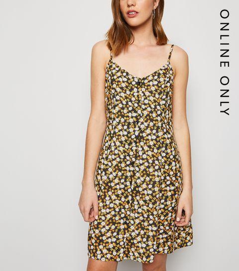 af79eec64e5317 ... Black Floral Button Up Mini Dress ...