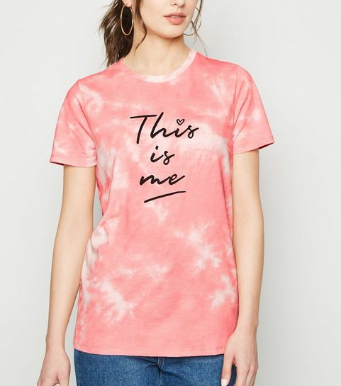 7a7e6139df7 ... Coral Tie Dye This Is Me Slogan T-Shirt ...