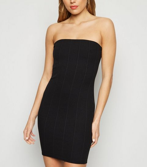 9075d60adc7b7 ... Black Ribbed Bandeau Midi Dress ...