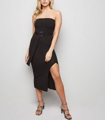Black Bandeau Belted Midi Dress