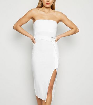 White Bandeau Belted Midi Dress