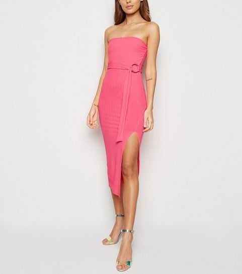 26a3285784bd0 ... Bright Pink Neon Bandeau Belted Midi Dress ...
