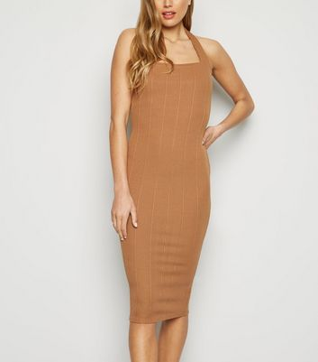 Camel Ribbed Halterneck Midi Dress