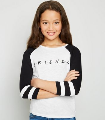 Girls - T-shirt blanc à logo Friends et à raglan