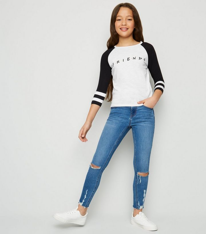 e04c572a876f2 Girls White Slogan Friends Raglan T-Shirt | New Look