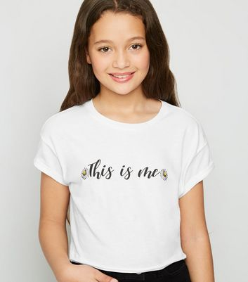 Girls White This Is Me Slogan T-Shirt