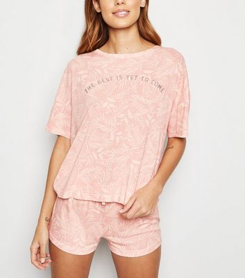 Pink Palm Print Slogan Pyjama Set
