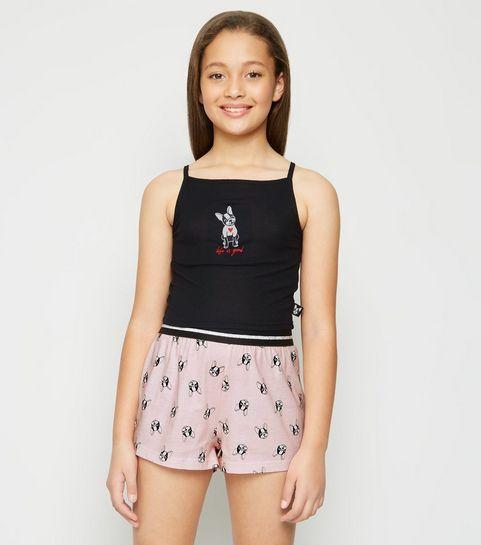 46eb206d546ee ... Girls Black Bulldog Slogan Pyjama Set ...