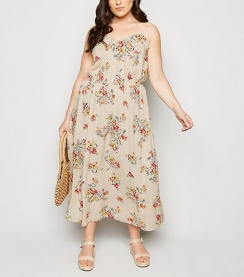 Curves Off White Floral Maxi Dress