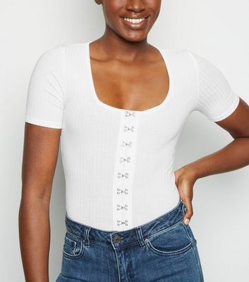 White Hook and Eye Front Ribbed Top