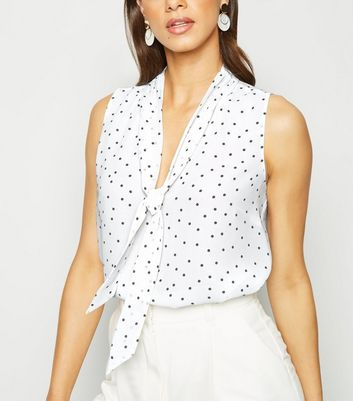 White Spot Print Tie Neck Sleeveless Shirt