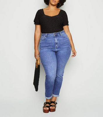 Blue Waist Enhancing Mid Wash Mom Jeans
