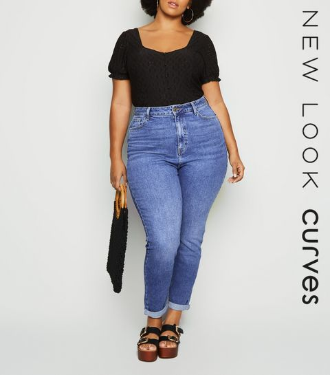 4807ef278808 ... Blue Waist Enhancing Mid Wash Mom Jeans ...