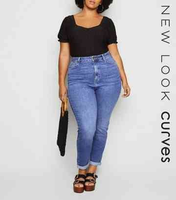 Curves Blue Waist Enhance Slim Mom Jeans