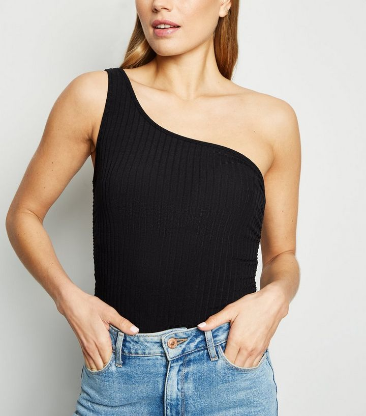 35381f304361 Black Ribbed Ruched One Shoulder Top | New Look
