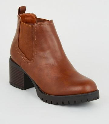 Tan Leather-Look Chunky Chelsea Boots