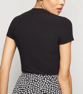 Black Ribbed Cut Out Bodysuit New Look