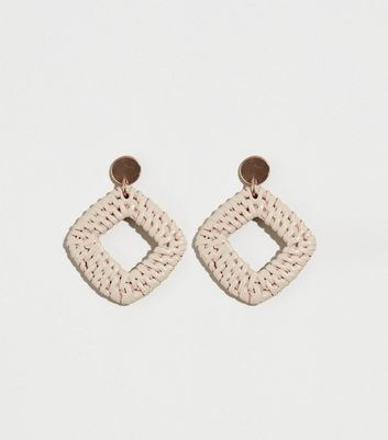 Pale Pink Raffia Square Drop Earrings