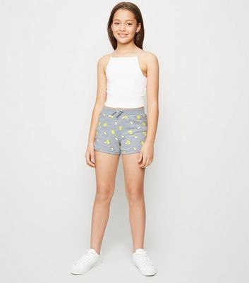 Girls Light Grey Lemon Print Jersey Shorts