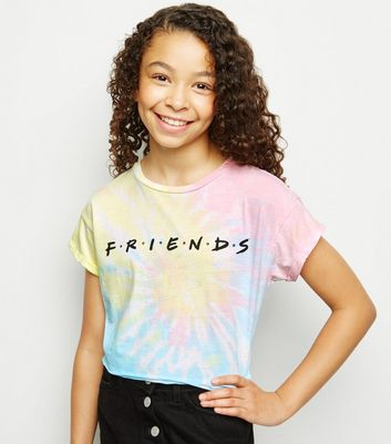 Girls Multicoloured Tie Dye Friends Slogan T-Shirt